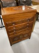 20th cent. Reproduction Chinese hardwood cutlery/silver cabinet. 22ins. x 32ins.