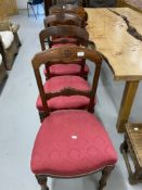 19th cent. Mahogany Gothic dining chairs with sabre leg rear supports. Set of four.
