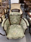 Early 20th cent. Two Edwardian mahogany salon armchairs with upholstered back and sides, on