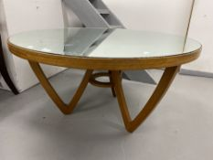 Art & Design: Jeremy Broun 1970s/80s mirror topped coffee table with angular base, small crack to