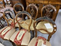 19th cent. Harlequin set of six upholstered ribbon backed dining chairs, four French, two English.