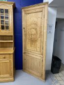 19th cent. Pine corner cabinet with later additions, in two sections with hinged doors. Height