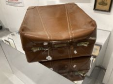 Vintage Luggage: Oblong leather suitcase with shot silk lining. 23ins. x 19ins. x 12ins.