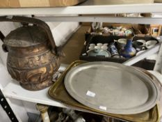 19th/20th cent. Metalware: Copper preserve pan, copper bowl, iron and brass candlesticks, column