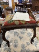 18th cent. French walnut footstool with cabriole supports and floral needlepoint upholstery.