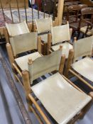 Art & Design: Set of six leather and pine dining chairs purchased from Paul Smith's furniture shop