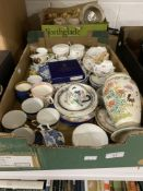 19th & 20th cent. Ceramics & Glass: One box containing a large selection of cups, coffee cans and
