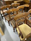 Early 19th cent. Mahogany bar back set of six dining chairs, including one carver.