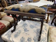 Early 19th cent. Rosewood cabriole cross stretcher footstool with floral needlepoint upholstery.