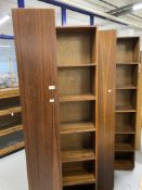 Mid 20th cent. Hardwood veneer corner bookcase cabinets, a pair. 74ins. x 24ins. x 24ins.