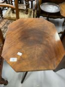 Early 20th cent. Mahogany side table on turned column support with tripod feet. 27½ins. x 19ins. x