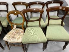19th cent. Mahogany dining chairs (5) bar back, turned legs with green upholstery, plus one other.