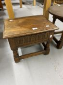 20th cent. Oak side table designed and made by Christiane Karg of Bergen, turned supports and