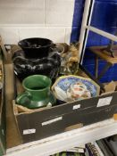 20th cent. Ceramics: Vase in the form of a pineapple, Lucia black panel vase, white Italian planter,