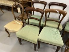 19th cent. Rosewood chairs (4) with fluted legs and green upholstery, plus two mahogany salon
