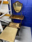 19th cent. Hepplewhite style shield shaped dressing table mirror. Plus rustic rattan bobbin