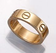 18 kt gold CARTIER ring , model LOVE, YG 750/000, ringsize 52, signed and num.