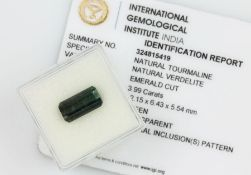 Loose tourmaline approx. 3.99 ct , emerald cut verdelite, with certificate