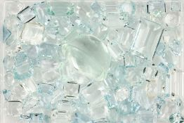 Lot loose aquamarines total approx. 185 ct ,in different shapes and cuts