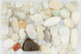 Lot loose opals , total approx. 128 ct, cabochons in different sizes and shapes