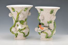 """couple of """"snowball"""" vases, Meissen, around 1860/70, porcelain, with hook branches and fully plastic"""