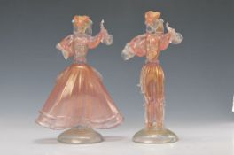 couple of Glass sculptures, Badioli Murano, 20th c., Man and woman in style of the Rococo, blown