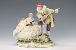 porcelain group, Unterweissbach, 20th c., lute player and singer in style of the Rococo, painted