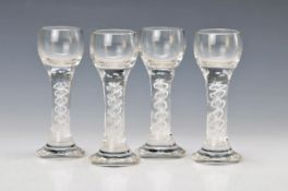 4 schnapps glasses, Josephinenhütte, 19th c., colorless glass with blown opaque-white spiral, H.