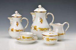 coffee set, Meissen, 1930s, yellow dragon gold heightened, gold rim, large coffee pot, largesugar