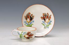 cup with saucer, Meissen, around 1885, Marcolini period, porcelain, colorful flowers with shadows,