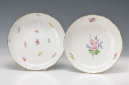 two round bowls, Meissen, 2.H.20th c., colorful painting: flower I., bowl with floralembossment,
