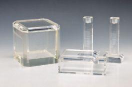 Lot Arcyl glass, Evelyn Th. Schobert, Linea Serpente, high large lid box approx. 18 x 17.5x 18 cm,