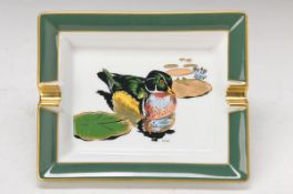 ash-tray, Hèrmes Paris, porcelain, with colorful duck motif after Rybal, gold rim, approx. 3.