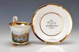 Biedermeier cup, Meissen, dat. 1834, view of Meissen, lithographed and painted, gilding abraded,
