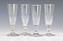 6 champagne glasses, France, around 1900, colorless glass in lower part faceted, H. eachapprox.