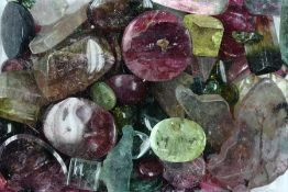 Lot loose tourmalines , total approx. 632 ct, different shapes, colours, clarities and sizes
