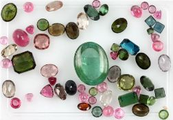 Lot loose tourmalines total approx. 74 ct , different colours and shapes, dismounted