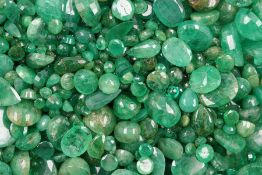 Lot loose emeralds total approx. 368 ct , different shapes, dismounted