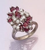 14 kt gold ring with rubies and brilliants ,WG 585/000, 11 ruby marquises total approx. 1.50 ct,