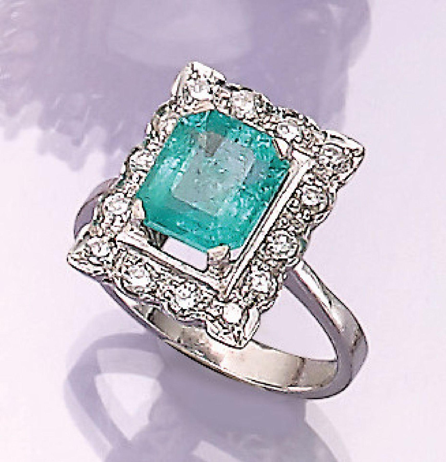 Los 31537 - 18 kt gold ring with emerald and diamonds , oval bevelled emerald approx. 3.0 ct, 14 brilliants