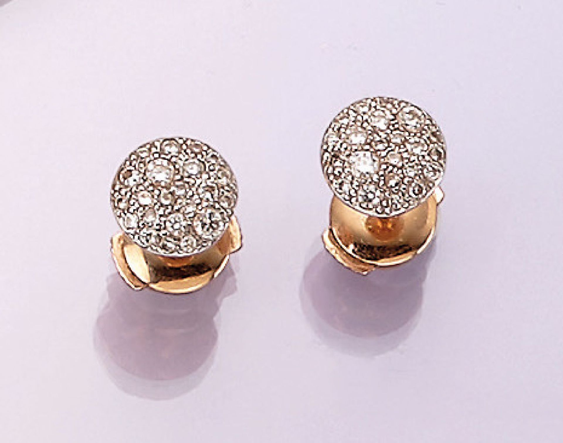 Los 31512 - Pair of 18 kt gold POMELLATO earrings with brilliants , RoseG/WG 750/000, brilliants total approx.