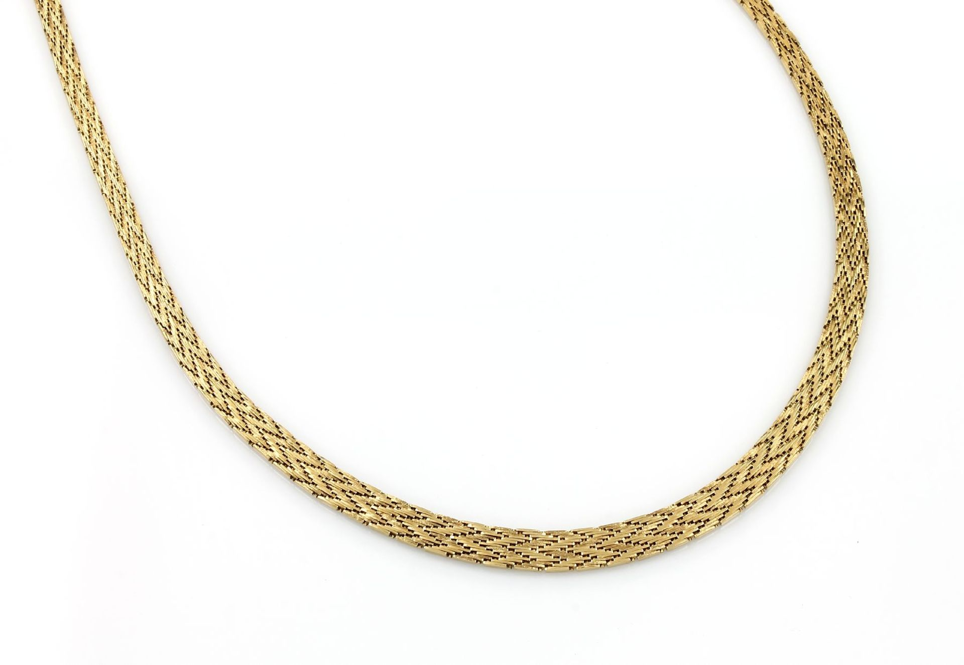 Los 31516 - 18 kt gold necklace , YG 750/000, herringbone, approx. 53.3 g, l. approx. 42.5 cm, case lock with