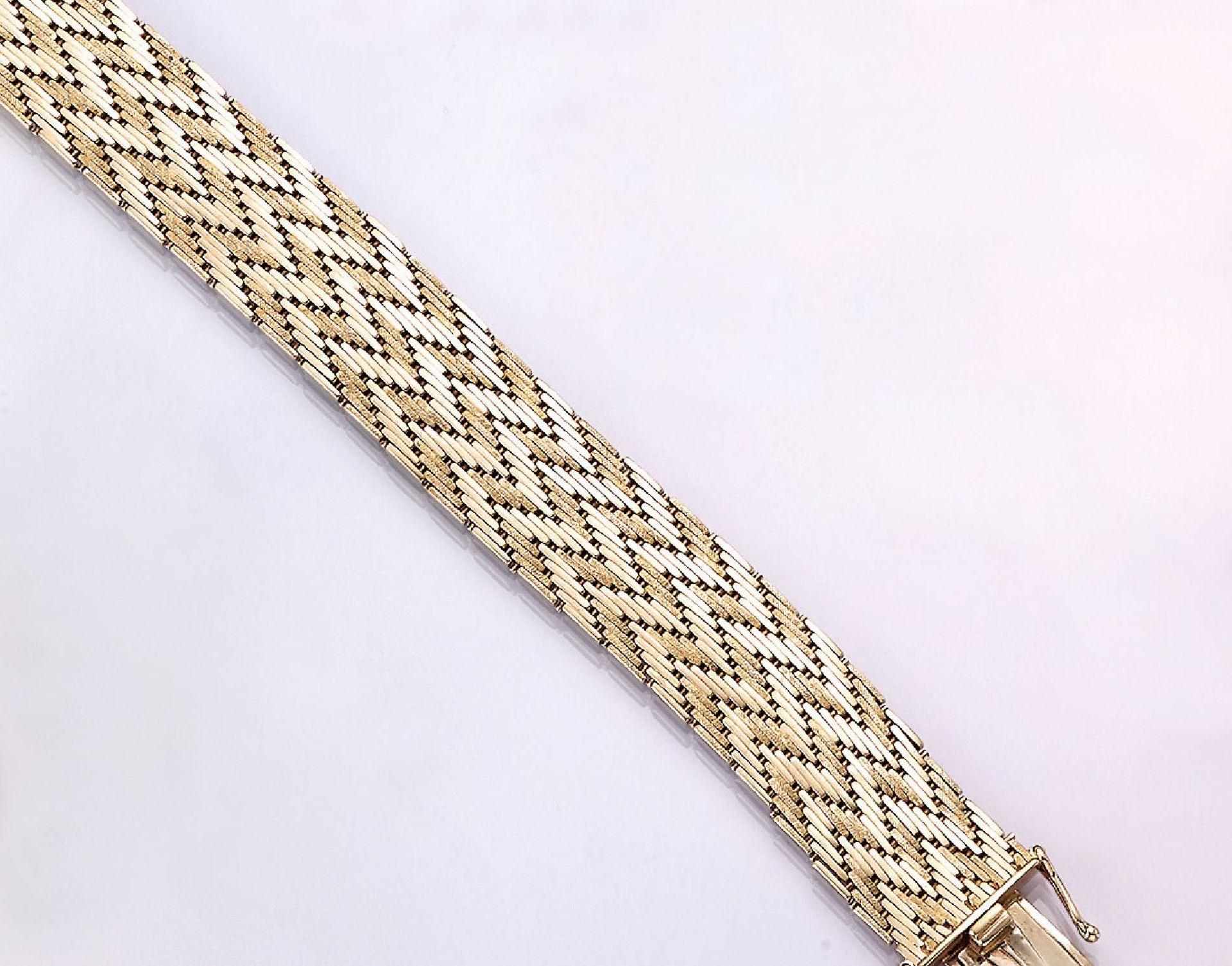 Los 31517 - 14 kt gold bracelet , YG 585/000, herringbone, manufacturer's brand Theodor Wolf, l. approx. 19.5