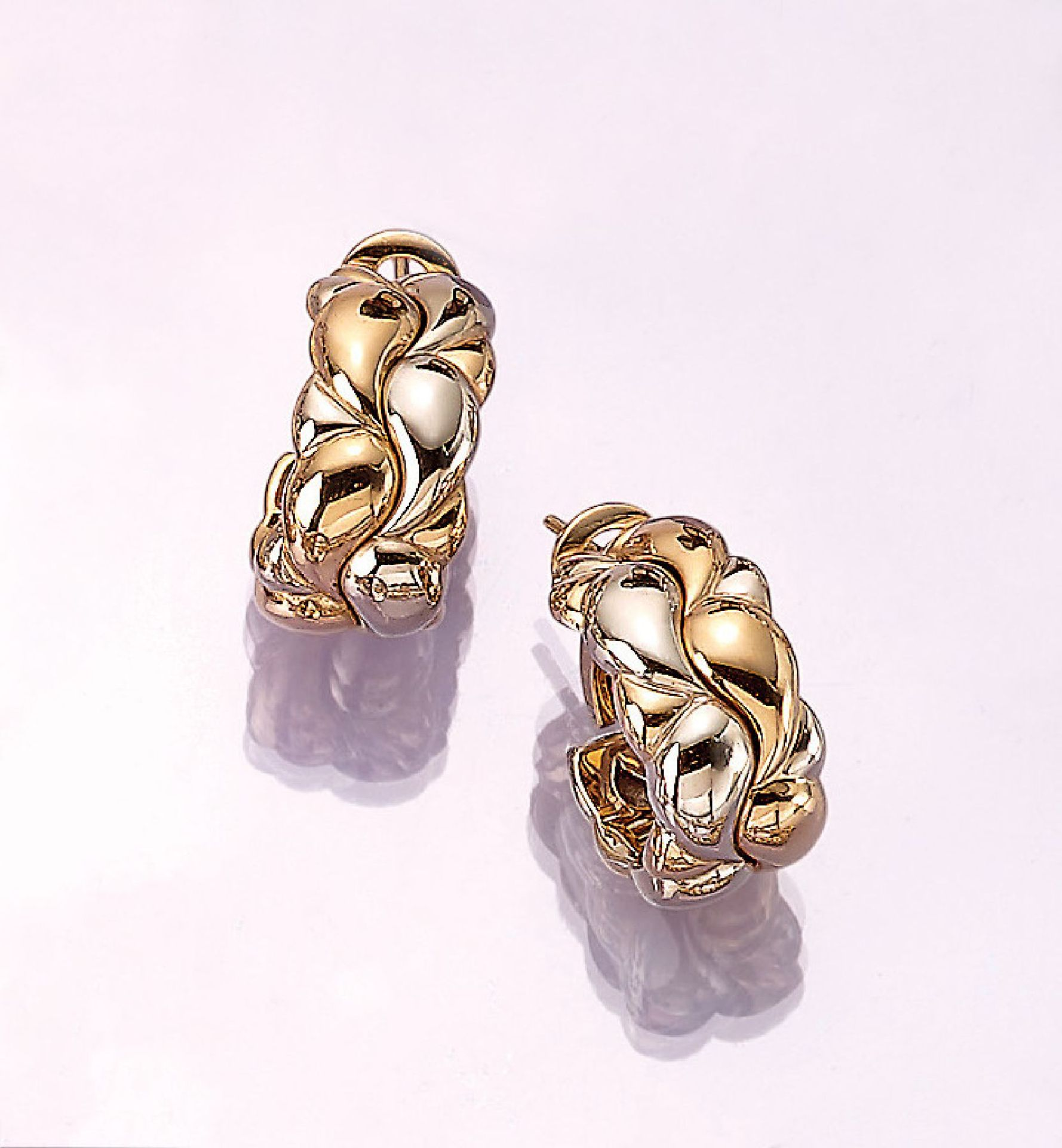 Los 31524 - Pair of 18 kt gold earrings CHOPARD CASMIR ,YG/WG 750/000, nice, heavy quality, approx. 22.8 g,