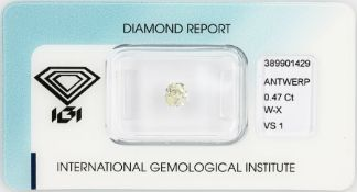 Loose diamond 0.47 ct Cape(W-X)/vsi, in cushion cut, with IGI expertise, sealed Valuation Price:
