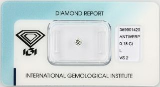 Loose brilliant 0.18 ct Top Cape(L)/vs2, polish: good, with IGI expertise, sealed Valuation Price: