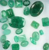 Lot loose emeralds total approx. 30.92 ct, in different cuts and sizes, partially dismounted