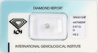 Loose old cut diamond 0.57 ct Top Wesselton(G)/vs2, with IGI expertise, sealed Valuation Price: