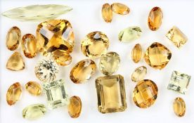 Lot loose citrines , total approx. 92.12 ct,in different cuts, colour shades and sizes, some in