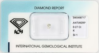 Loose old cut diamond 0.27 ct Top Cape (K)/si1, with IGI expertise, sealed Valuation Price: 380, -